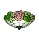12-Inch Wide Flush Mount Lamp with Pink Rose Pattern Tiffany-Style Art Glass Shade