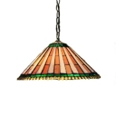 Ceiling Pendant Fixture 2-Light Conical Shade with Tiffany Art Glass, 16