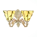 2-Light Tiffany Upward Wall Sconce Leaf Theme with Beige Glass Shade, 16