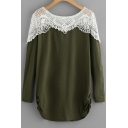 Spring Collection Lace Insert Round Neck Long Sleeve Leisure Tee
