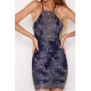 Halter Sleeveless Floral Lace Open Back Mini Pencil Dress