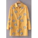 Leopard Polka Dot Printed Lapel Collar Long Sleeve Buttons Down Tunic Shirt