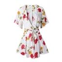 Floral Printed V Neck Short Sleeve Tied Waist Romper