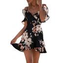 Beach Fashion Floral Print Ruffle Design Mini A-line Summer Dress