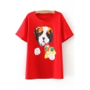 Lovely Dog Pizza Print Round Neck Short Sleeves Casual Tee