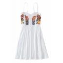 Holiday Floral Embroidered Spaghetti Straps Sleeveless Mini Cami Dress