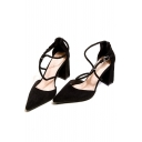 Chic Plain Strappy Design High Heel Women's Pointed Shoes