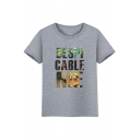 Hot Popular Cartoon Letter Printed Round Neck Short Sleeve Tee