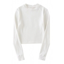 Women's Fashion Plain Round Neck Long Sleeve Soft Casual Spring Tee