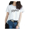 Popular Letter DIFFERENT Print Round Neck Short Sleeves Casual Tee