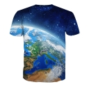 The Earth Galaxy Printed Round Neck Short Sleeve Loose Tee