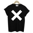 Cross Printed Round Neck Short Sleeve Leisure Unisex Tee