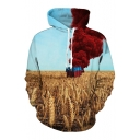 Color Block Paddy Field Printed Long Sleeve Loose Hoodie