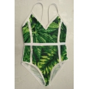 Stylish Leaf Plant Print Spaghetti Straps Beach Style One Piece Swimwear