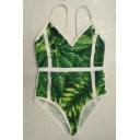 Stylish Leaf Plant Print Spaghetti Straps Beach Style One Piece Swimwear