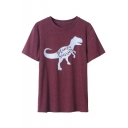 Hot Sale MAMA Letter Dinosaur Print Round Neck Short Sleeves Casual Tee