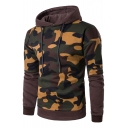 Camouflaged Print Patchwork Long Sleeves Pullover Pocket Hoodie