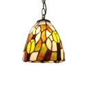 Multicolored Glass Shade Ceiling Fixture, Tiffany Vintage 6.3