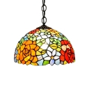 Floral Dome Shaped Hanging Lamp Tiffany Style Loft 12