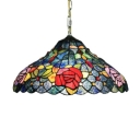 2 Light Pendant Light with Tiffany Colorful Rose Glass Shade in Vintage Style