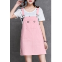 Adorable Plain Grommet Detail Square Neck Sleeveless Overall Mini Dress