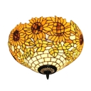 Yellow Sunflower Pattern Tiffany 2 Light Flush Mount Ceiling Light with Stained Glass Shade, 16-Inch Wide