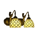 Vintage Style Belle Double Light Wall Sconce with Tiffany-Style Yellow Stained Glass Shade 14-Inch Wide