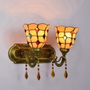 Vintage Art Jewel Decorated Wall Sconce Tiffany-Style Stained Glass Crystal Pendant, 15-Inch Wide Two Light