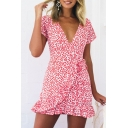 Floral Printed V Neck Short Sleeve Ruffle Hem Mini A-Line Dress