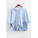 Cat Printed Buttons Down Half Sleeve Loose Hooded Tee