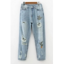 Cactus Embroidered Zipper Fly Ripped Mid Waist Jeans
