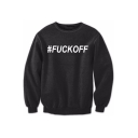 FUCK OFF Letter Printed Round Neck Long Sleeve Pullover Sweatshirt