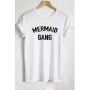 Casual MERMAID GANG Letter Print Short Sleeve Round Neck Tee