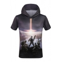 Popular Game Character Printed Short Sleeve Loose Hooded Tee