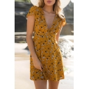Hot Summer Style Cap Sleeve Floral Print Plunge Neck Belted Mini Beach Dress