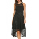 Elegant Lace Panel Round Neck Sleeveless High Low Hem Zip Back Summer Dress