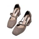Popular Plain Strappy Tied Design Mid Heel Women's Shoes