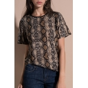 Cool Snake Skin Print Round Neck Short Sleeves Casual Tee