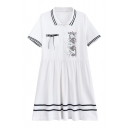 Childish Cat Cartoon Print Chest Pocket Lapel Striped Trim Mini T-shirt Dress