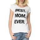BEST MON EVER Letter Printed Round Neck Short Sleeve Tee