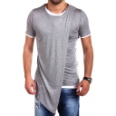 Men's Stylish Round Neck Short Sleeve Asymmetrical Design Color Block Tee Top