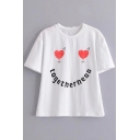TOGETHERNESS Letter Heart Printed Round Neck Short Sleeve Leisure Tee