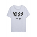 KISS Letter Printed Round Neck Short Sleeve Summer Tee