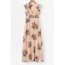Elegant Floral Printed Ruffle Detail Sleeve Split Front Maxi A-Line Dress