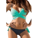 New Arrival Popular Color Block Sexy Halter Hollow Out Bikini