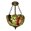 12-Inch Wide Tiffany Style Semi-Flush Ceiling Light with Fruit Theme Grape Pattern Glass Shade, 2-Light, Multi-Colored