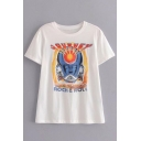 Robot Letter Printed Round Neck Short Sleeve Leisure Tee