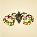 Vintage Tiffany Style 2-Light Wall Sconce Grape Pattern with Stained Glass Shape
