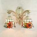 14-Inch Wide Tiffany Style Wall Sconce in Floral Style, 2-Light, Bell Shaped Glass Shade