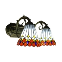 2-Light Wall Sconce with Peacock Pattern Glass Shade in Tiffany Style, 16-Inch Wide